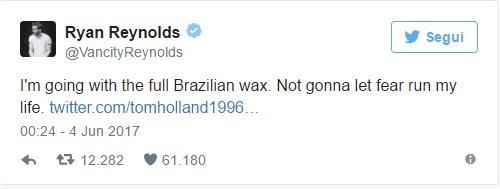 Commento di Ryan Reynolds su Twitter