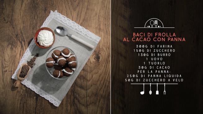 La ricetta dei baci di frolla al cacao con panna