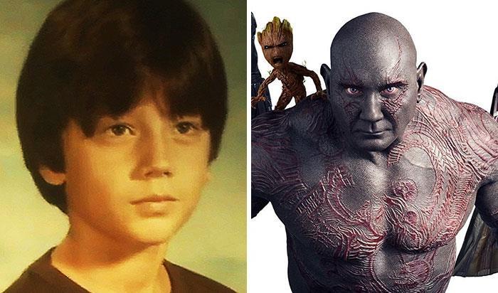Dave Bautista (Drax) da bambino e nei film Marvel