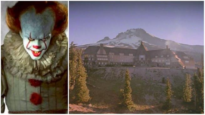 Un'immagine di Pennywise con Overlook Hotel