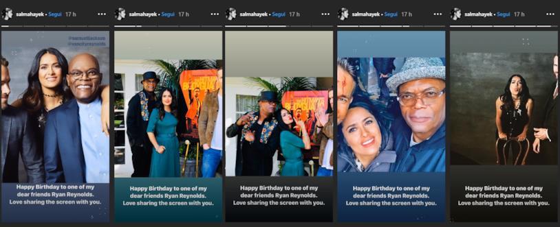 Salma Hayek e gli auguri di compleanno a Ryan Reynolds