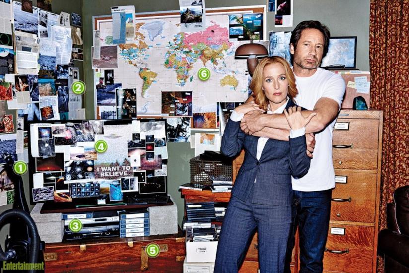 Mulder e Scully sul set di X-Files