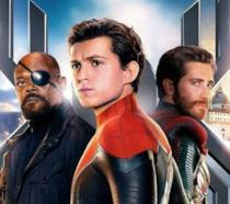Un primo piano di Spider-Man a Venezia nel poster di Far From Home