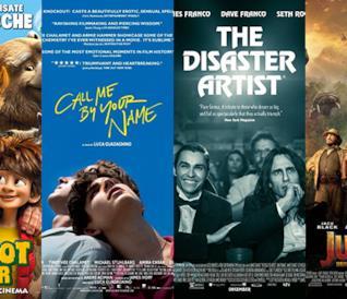 I poster dei film Bigfoot Junior, Chiamami col tuo Nome, The Disaster Artist, Jumanji 2