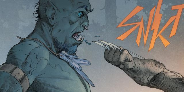 Wolverine attacca un nemico stupefatto.