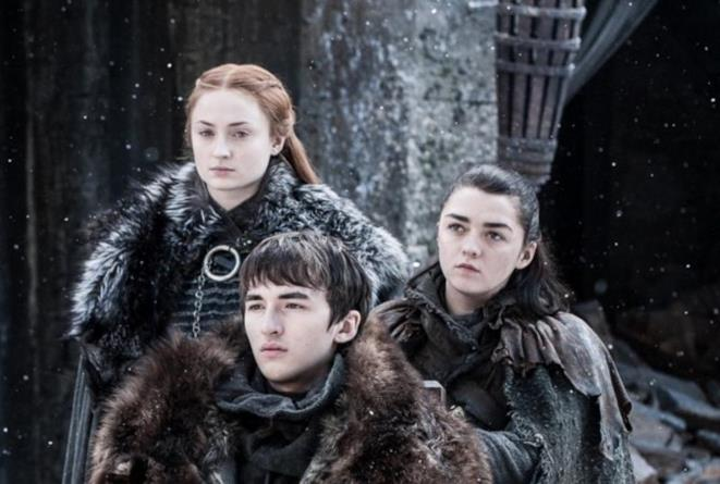 Sophie Turner, Maisie Williams e Isaac Hempstead-Wright in Game of Thrones 7