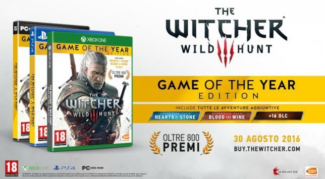 The Witcher 3: Wild Hunt - GOTY Edition uscirà per PC, PlasyStation 4 e Xbox One