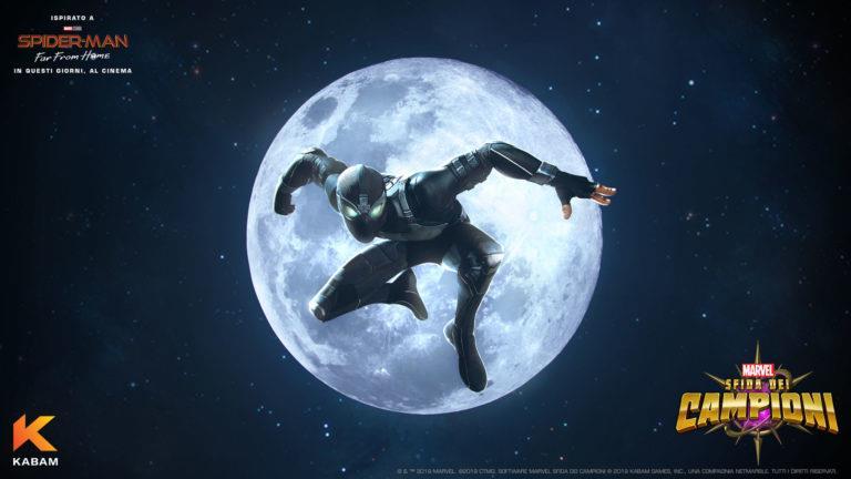 Spider-Man con la Stealth Suit in un poster promozionale del gioco Marvel - Sfida dei Campioni