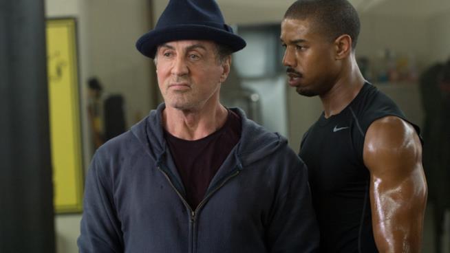 Sylvester Stallone e Michael B. Jordan in una scena di Creed - Nato per combattere