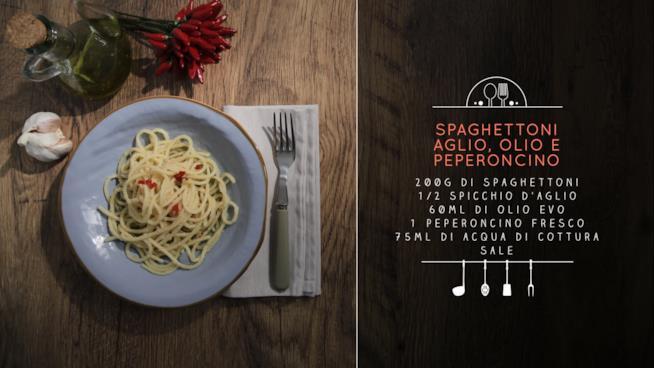 La ricetta degli spaghettoni aglio, olio e peperoncino