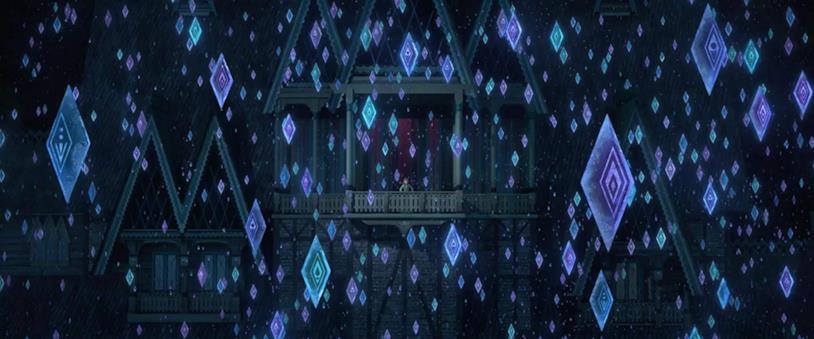 Un'immagine dei cristalli di ghiaccio a forma di rune dal trailer del film Frozen 2