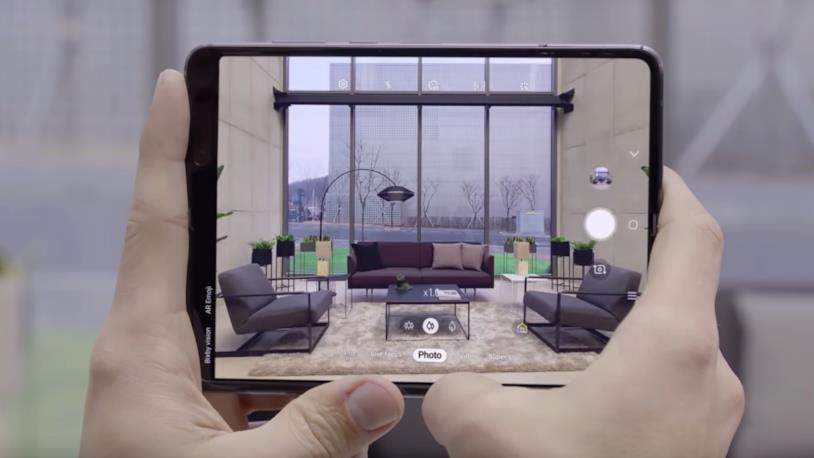 L'app Fotocamera in esecuzione sul Galaxy Fold in modalità tablet