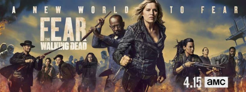 Il banner promozionale di Fear the Walking Dead con i protagonisti della serie e Morgan Jones
