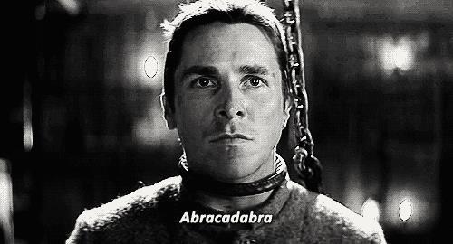 Borden in The Prestige dice Abracadabra prima di morire