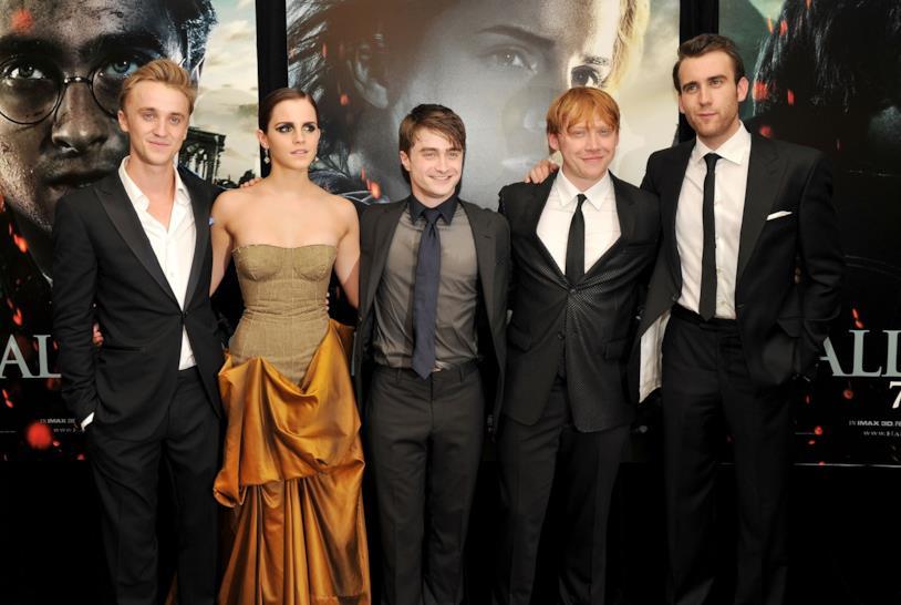 Tom Felton, Emma Watson, Daniel Radcliffe, Rupert Grint e Matthew Lewis
