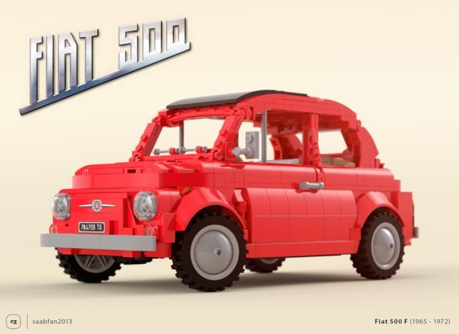 Primo piano del set LEGO Fiat 500 F con la carozzeria rossa