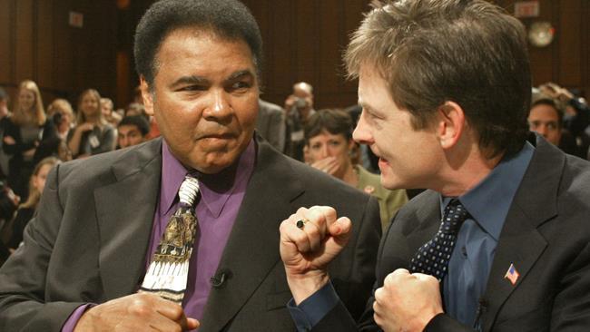 Michael J. Fox e Muhammad Ali, in occasione di uno dei loro incontri