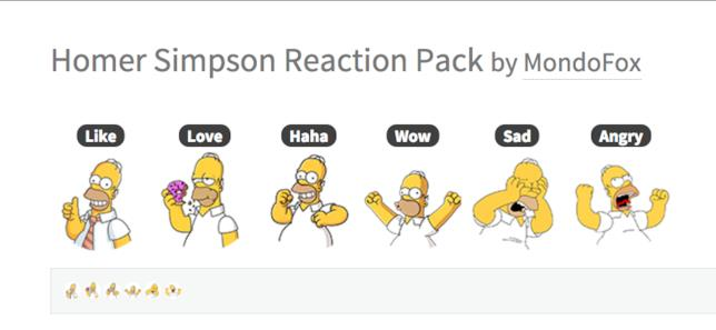 Le Reaction di Facebook con le facce di Homer Simpson