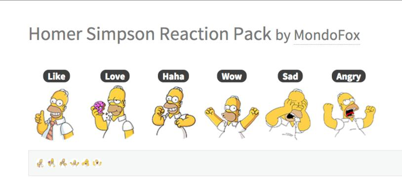Le Reaction di Facebook con le facce di Homer Simpson