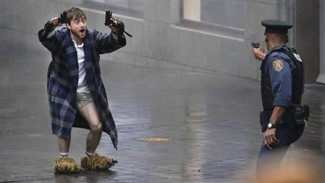 Daniel Radcliffe sul set di Guns Akimbo