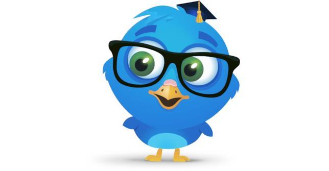 Il logo della piattaforma EduBirdie è un pulcino blu con occhiali
