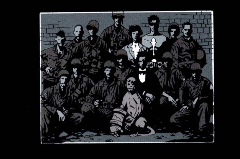 Hellboy da piccolo con il professor Broom e i soldati americani