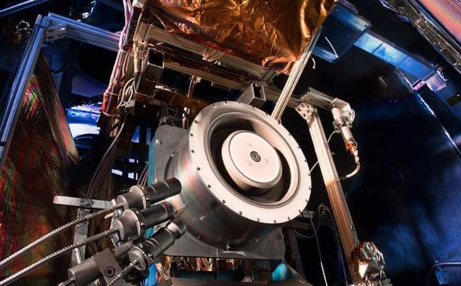 Scatto ravvicinato del propulsore in fase di test