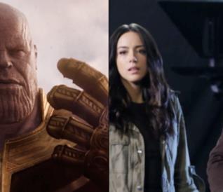 Un'immagine di Thanos contrapposta ad una di Daisy e Coulson