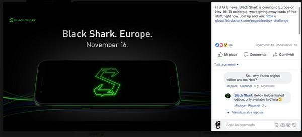 Black Shark annuncia su Facebook l'arrivo del suo smartphone in Europa