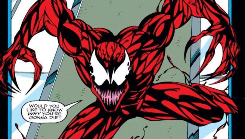 Carnage, rosso e nero, in una immagine dal fumetto Marvel