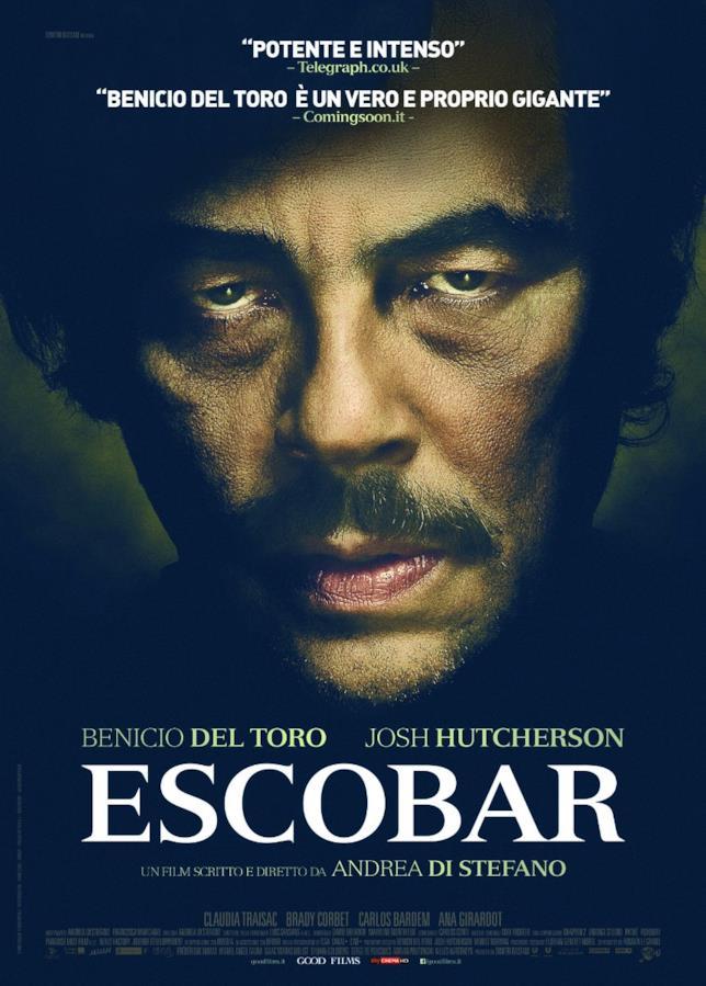Escobar il poster del film con Benicio Del Toro