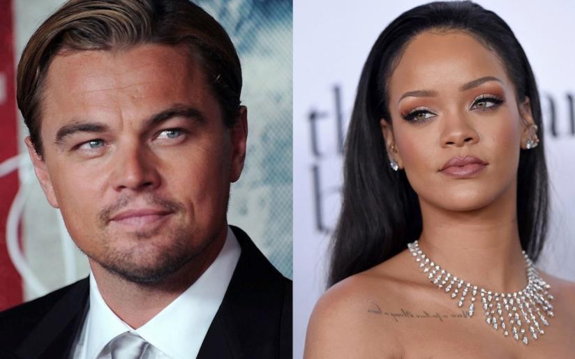 Primo piano di Leonardo DiCaprio e Rihanna