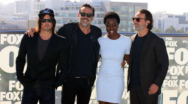 Norman Reedus, Jeffrey Dean Morgan, Danai Gurira e Andrew Lincoln di The Walking Dead al San Diego Comicon