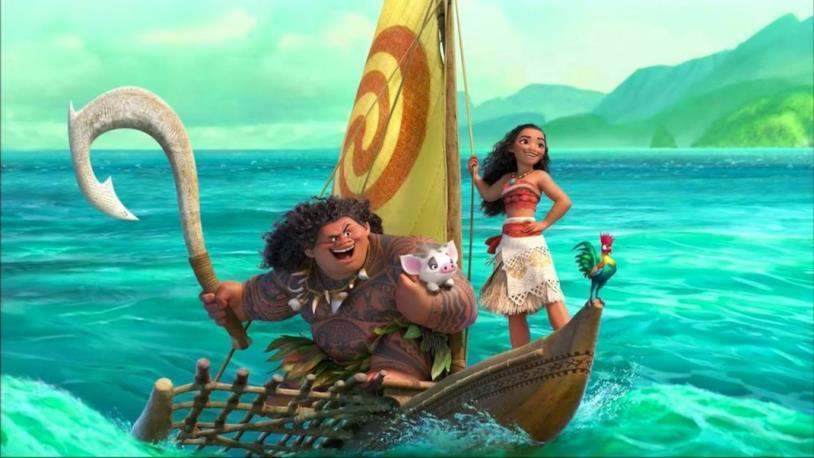 Oceania, Vaiana e Maui in una scena del film