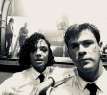 Chris Hemsworth e Tessa Thomspon sul set di Men in Black