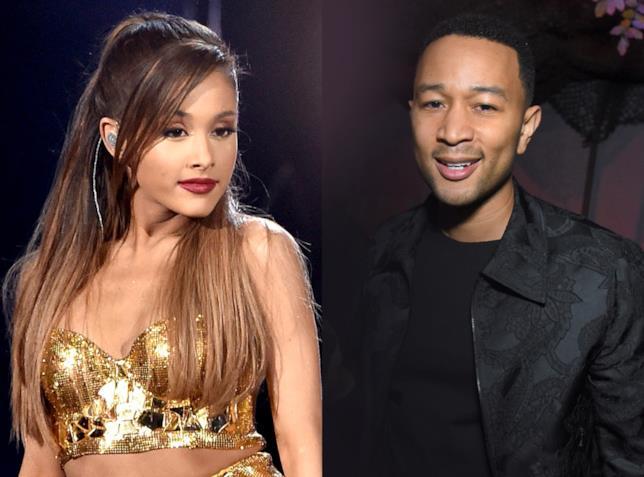 Un collage tra Ariana Grande e John Legend
