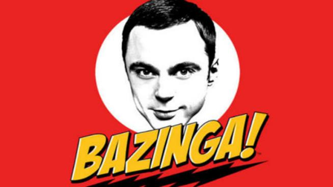 Il volto di Sheldon Cooper e il suo tormentone Bazinga