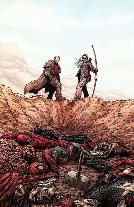 Wolverine e Occhio di Falco in una cover di Vecchio Logan
