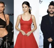 Un collage tra Bella Hadid, The Weeknd e Selena Gomez