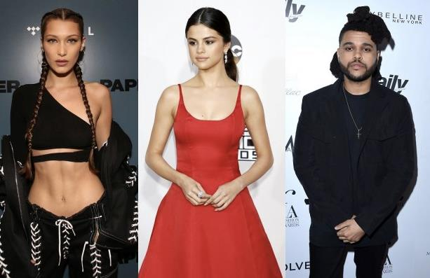 Un collage tra Bella Hadid, The Weeknd e Selena Gomez