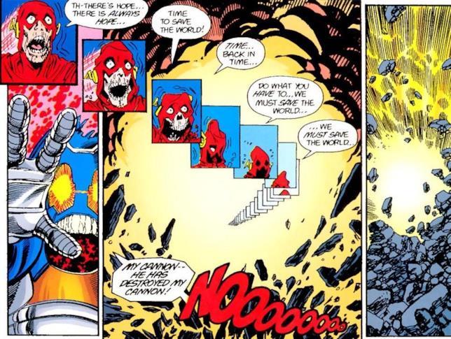 Pagina del numero della miniserie Crisis on Infinite Earths nella quale Barry Allen muore