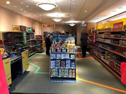 Primo piano dell'interno del negozio temporaneo LEGO di Manchester, nel Connecticut (USA)