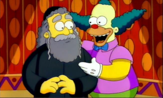 Krusty il Clown insieme a suo padre, il Rabbino