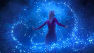 Elsa in primo piano in Frozen