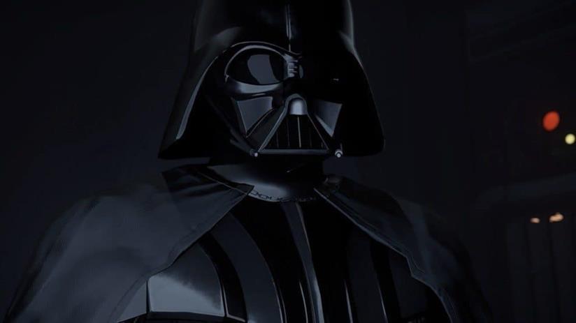 Un primo piano di Darh Vader in Vader Immortal