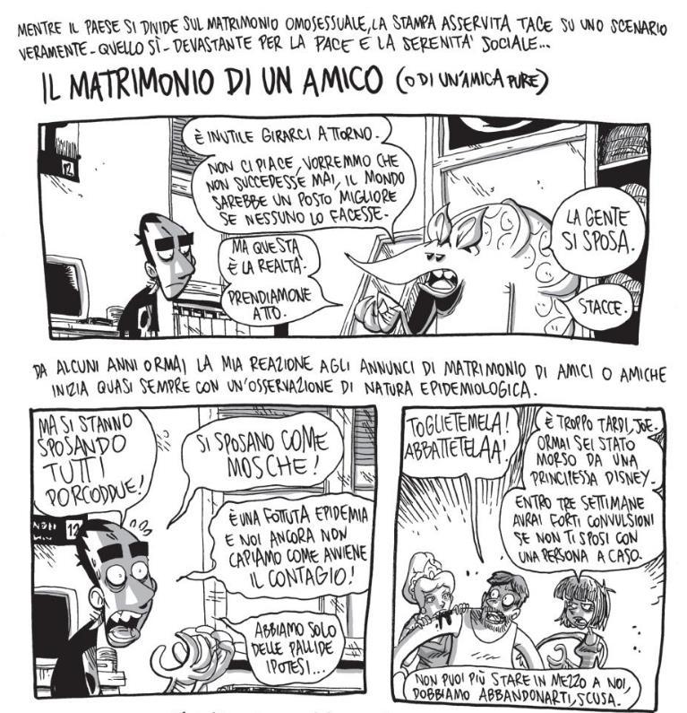 Tavola iniziale di Il matrimonio di un amico, con tre vignette
