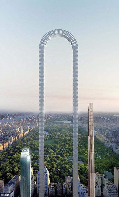 Un rendering sull'edificio The Big Bend che dovrebbe essere costruito a New York