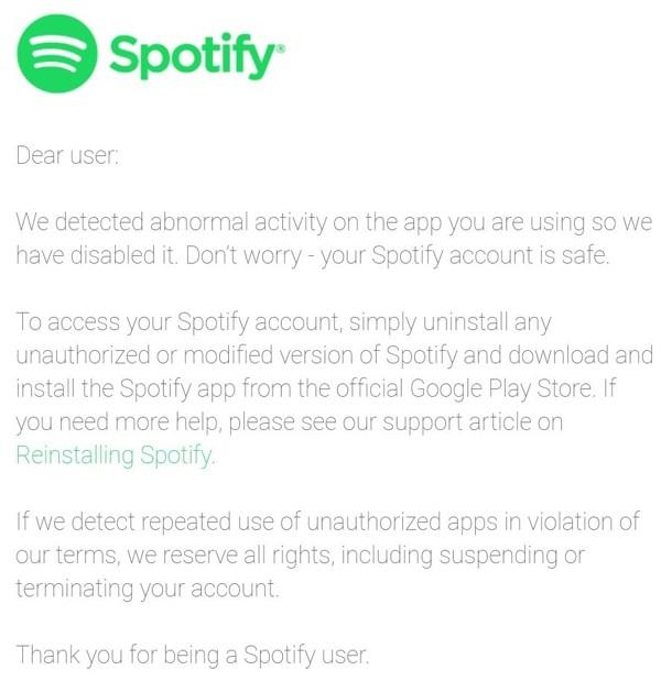 Spotify avvisa via e.mail i clienti che usufruiscono del servizio Premiun tramite app illegali