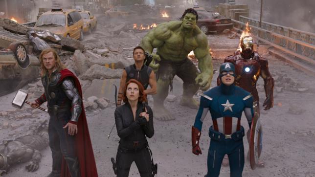 Thor, Vedova Nera, Captain America, Occhio di Falco, Hulk e Iron Man in Avengers del 2012
