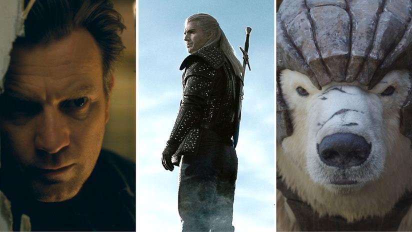 Da sinistra il volto di Danny Torrance, The Witcher e l'orso bianco di Queste oscure materie